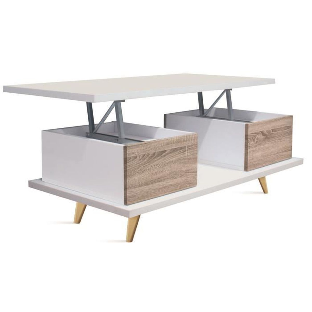 Table basse relevable en bois coloris blanc cambrian for Table basse blanc bois