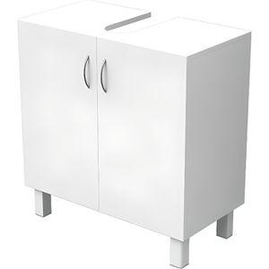 MEUBLE VASQUE - PLAN ESSENTIEL - Meuble sous lavabo 2 portes - Blanc