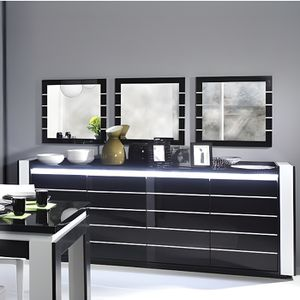 BUFFET - BAHUT  Buffet, bahut LINA noir et blanc avec LED
