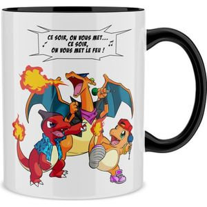 BOL Mug Noir Pokémon parodique Dracaufeu, Reptincel et