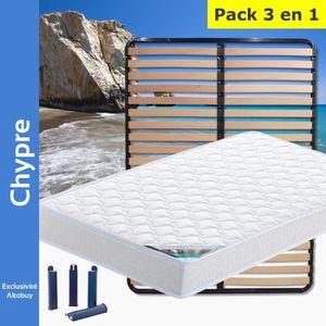 ENSEMBLE LITERIE Chypre - Pack Matelas + Lattes 120x190 + Pieds