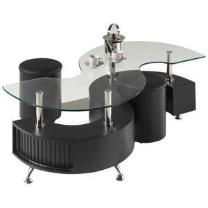 Table Basse Shana Avec 2 Poufs Noir Achat Vente Table Basse