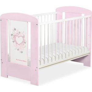 LIT BÉBÉ Lit bébé à barreaux 120 x 60 cm rose coeur rose