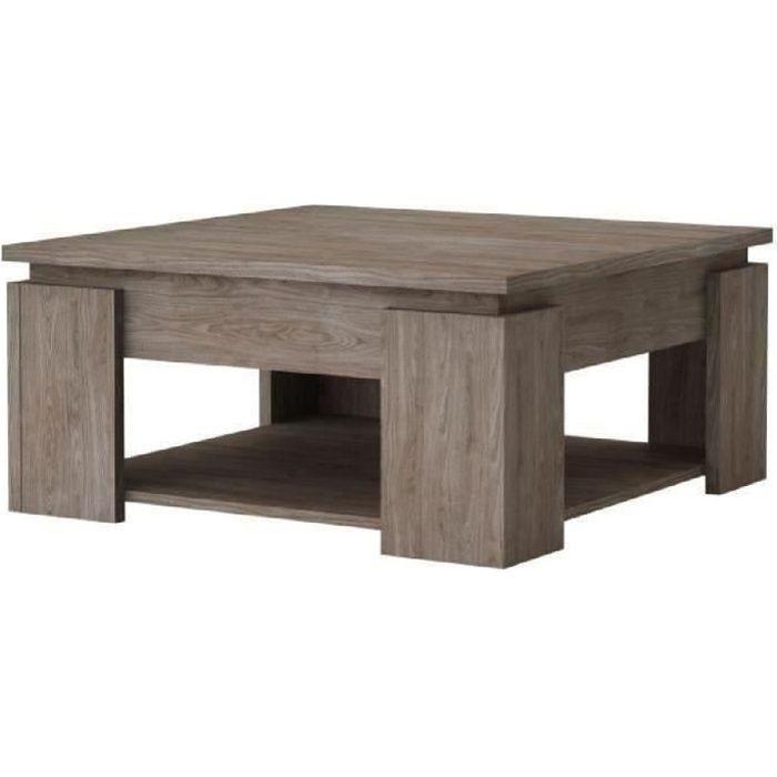 BASTILLE Table basse style contemporain mélaminée décor noyer - L 80 x l 80 cm