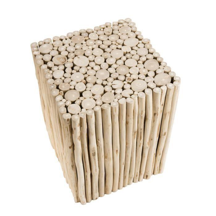 Table d'appoint carrée ethnique en bois teck massif naturel - L 35 x l 35 cm