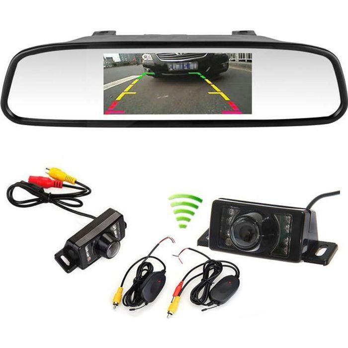 camera de recul sans fil inverse Vue arrière de sauvegarde IR LED Vision nocturne + 4.3 Pouces LCD miroir moniteur voiture