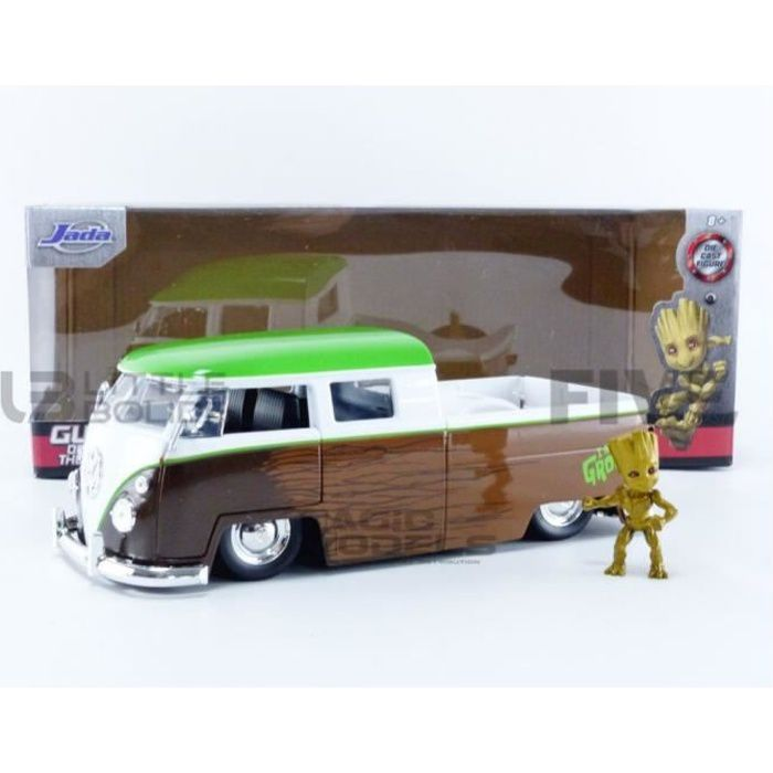 Voiture Miniature de Collection - JADA TOYS 1/24 - VOLKSWAGEN Bus Pick-up Groot Guardians of Galaxy - 1963 - Brown / White / Green