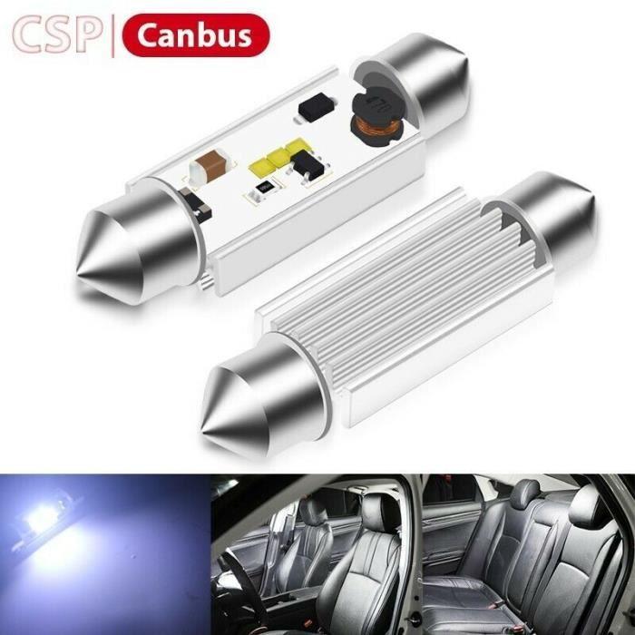 Ampoules LED 36mm C5W Navette CSP Canbus Veilleuses sans erreur Blanc 6500K
