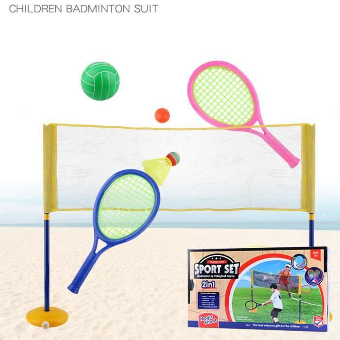 2pcs enfants sports de plein air jouets raquette badminton raquette de tennis mini badminton net_rhw329
