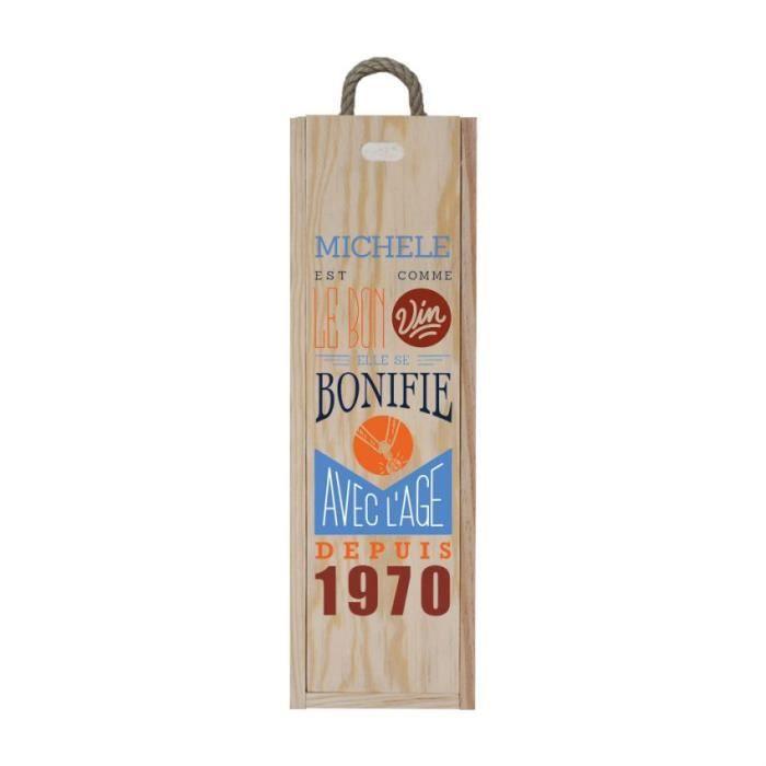 Caisse à vin en bois personnalisée pour 1 bouteille - Ouverture à glissière - Modèle Comme le bon vin - CVB4-F Bois