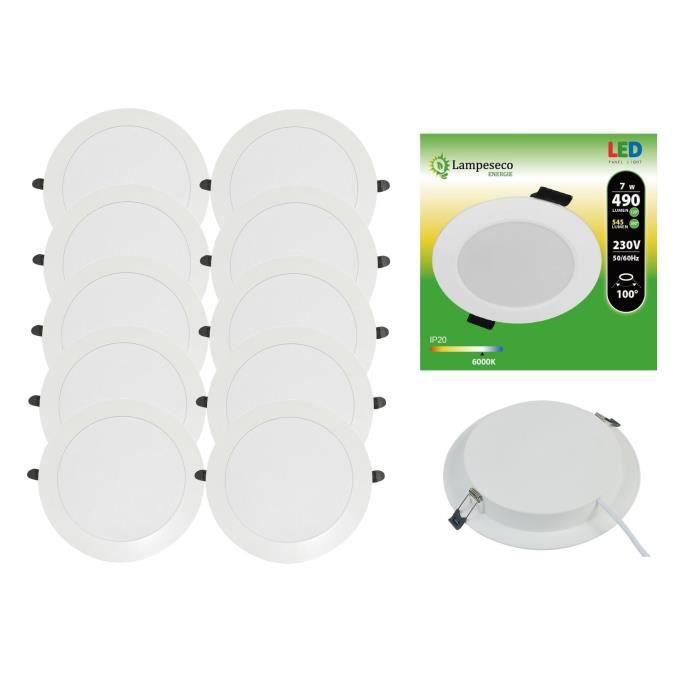 Lot de 10 Spot Encastrable LED Downlight Panel Extra-plat - 7W - Blanc Froid