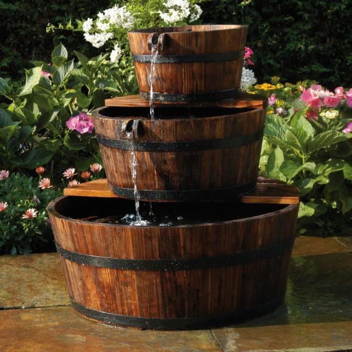 Ubbink Fontaine de jardin Fontaine a Eau, Deco Jardin 3 Tonneaux en cascade