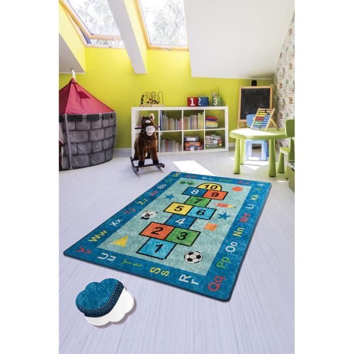 Nerge.be - Hopscotch Blue - 100x160cm - Tapis de jeu pour enfants Marelle Chambre à coucher Salle de jeux 100cm X 160cm (39.37 -X