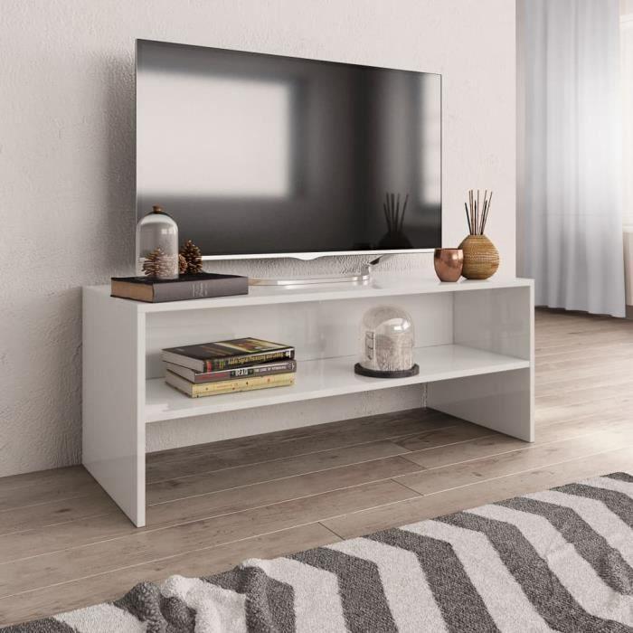 [745693] Super qualité - Meuble TV Design - Meuble de rangement Meuble de Télévision Blanc brillant 100 x 40 x 40 cm Aggloméré