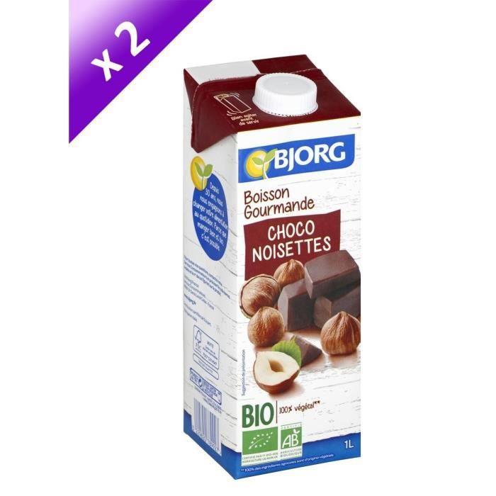 BJORG Lot de 2 Boissons gourmandes Riz Chocolat Noisettes - 2 x 1 L