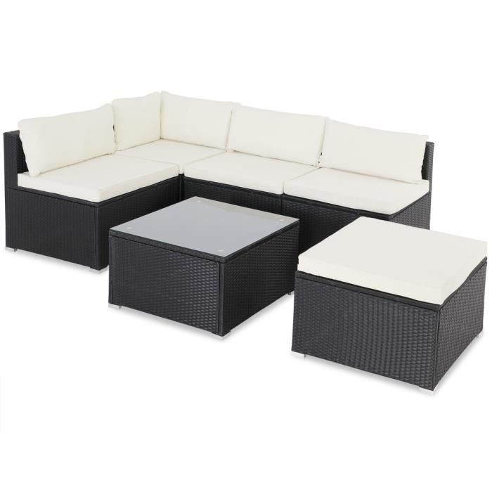 Salon de jardin noir polyrotin 16 pièces lounge ensemble de jardin set table canapé de jardin modulable coussins crème housses