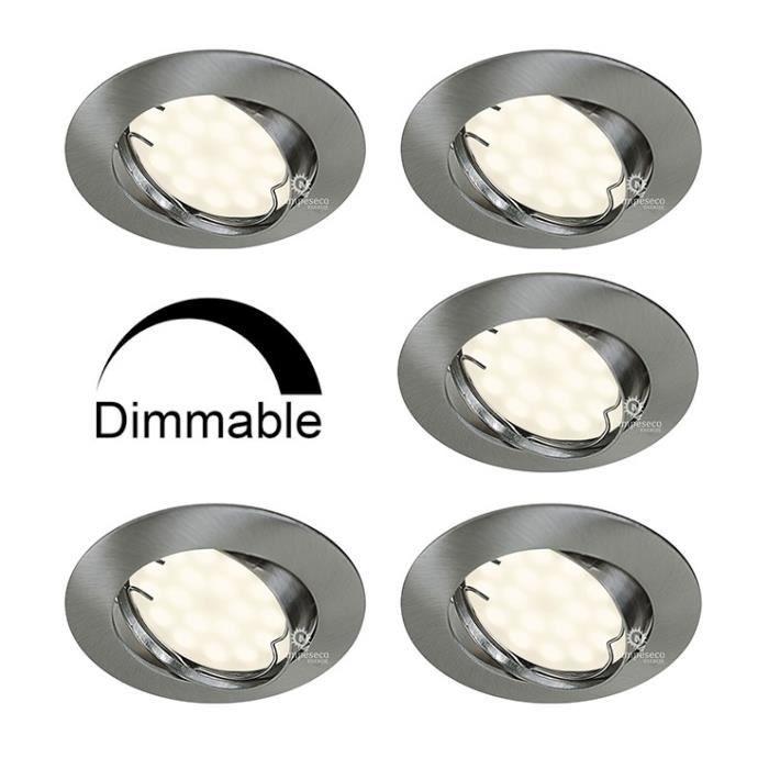 Lot de 5 Spots Encastrable LED Alu Brossé GU10 Dimmable Blanc Chaud