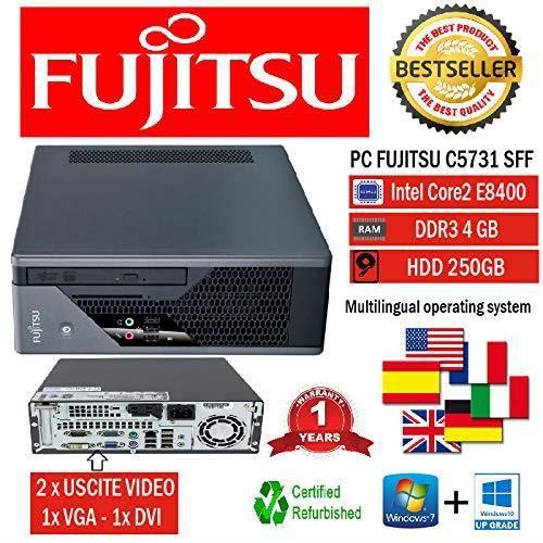 Mini PC Slim Fujistu C5731 E8400 3,0 GHz-mémoire RAM 4 Go-250 Go-DVD + RW-Win 10 Pro (produit reconditionné)