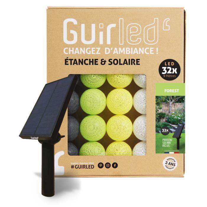Guirlande lumineuse boules d'extérieur Solaire Guinguette LED- Étanche - 32 boules 6,4m - Forest