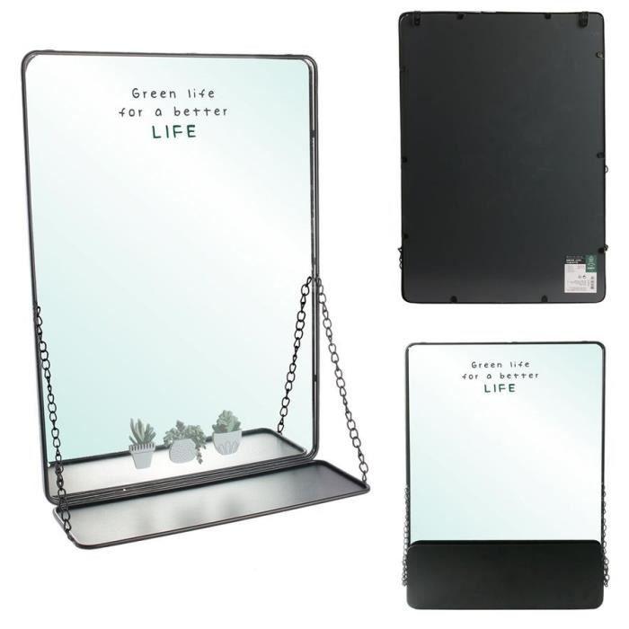 THE HOME DECO FACTORY Miroir tablette à chainettes M4 - Noir