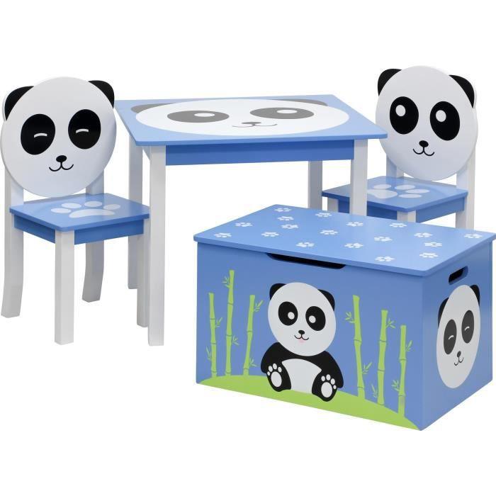 ib style® Meubles d'enfants - PANDA - 4pcs: table, 2 chaises, banc