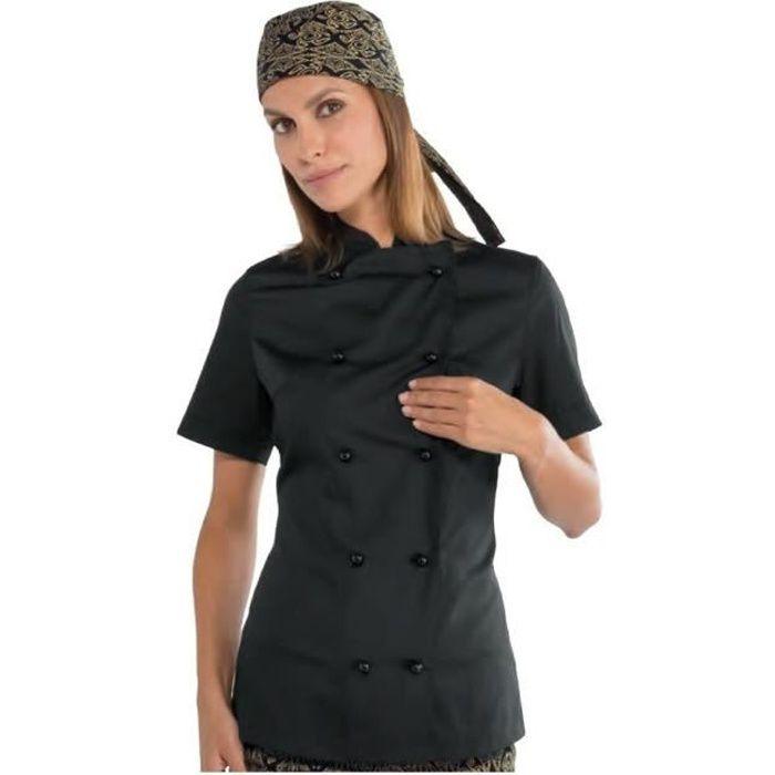 Veste de cuisine femme Isacco Extra Light manches courtes noire - Noir - XXL