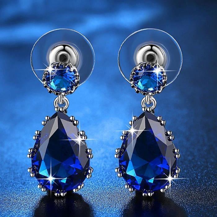 Boucles D'Oreilles Goutte Du Coeur De L'Océan Titanic Premium Argenté Bleu