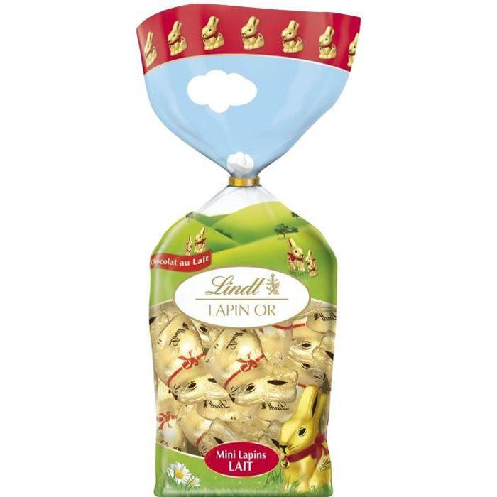 Chocolat Lindt Minis Lapin Lait Sachet 120g pour Pâques