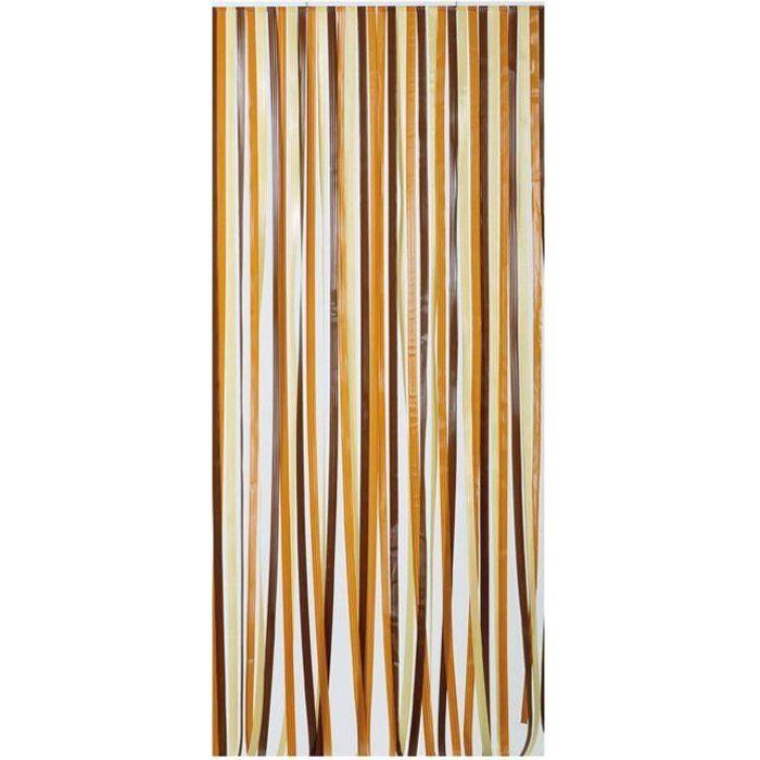 Rideau de porte en polyéthylène - Antilles - 90x200 cm - brun et beige
