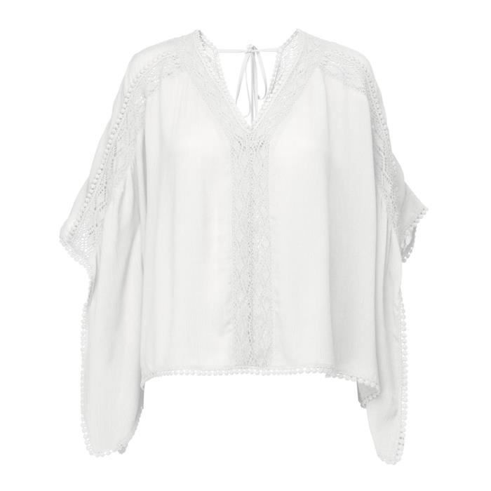 DEELUXE - LAO Blouse Courte Oversize Blanche à Col En V et Broderie Anglaise