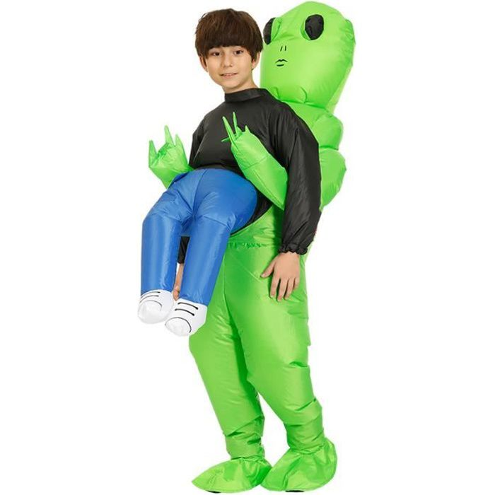 Costume drôle gonflable de costume d'explosion de costume humain de transport d'alien vert pour la partie