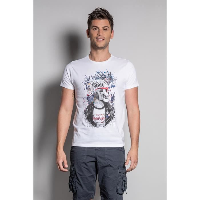 DEELUXE T-shirt photo tête de mort ENFIELDON White