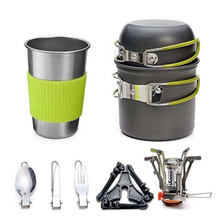 Camping Cuisinière Batterie de cuisine Kit Backpacking Cuisinière Ensemble avec Pan Pot fourchette cuillère pliable Portable
