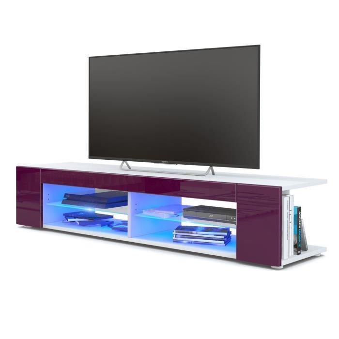 Meuble Tv blanc mat Façades en mûre laquées led Bleu