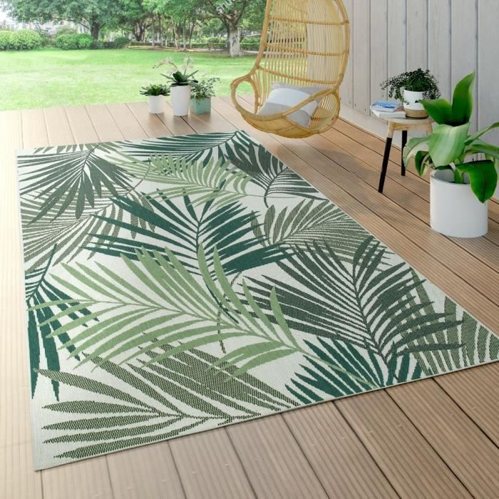 Tapis Intérieur & Extérieur Tissage À Plat Jungle Découpé Design Palmiers Floral Vert [Ø 120 cm rond]