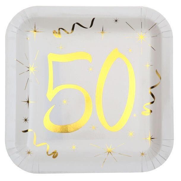 Décoration anniversaire 50 ans blanc et or en assiette carrée (x10) R/6156 Matière carton.