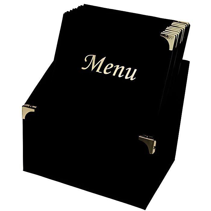 Ensemble de porte-menu Securit® + 10 protège-menus format A4 - Classic - Couleur noir et or - 30,5x27x20cm