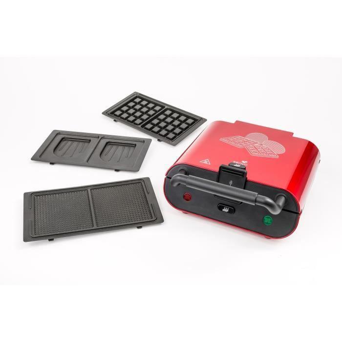 SENYA Appareil 3 en 1 - Gaufrier, appareil croque-monsieur et gaufrettes - Coloris : rouge