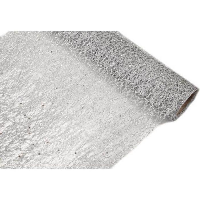 1 Rouleau chemin de table glitter (paillettes) argenté en tulle 28cm x5m R/TUN215