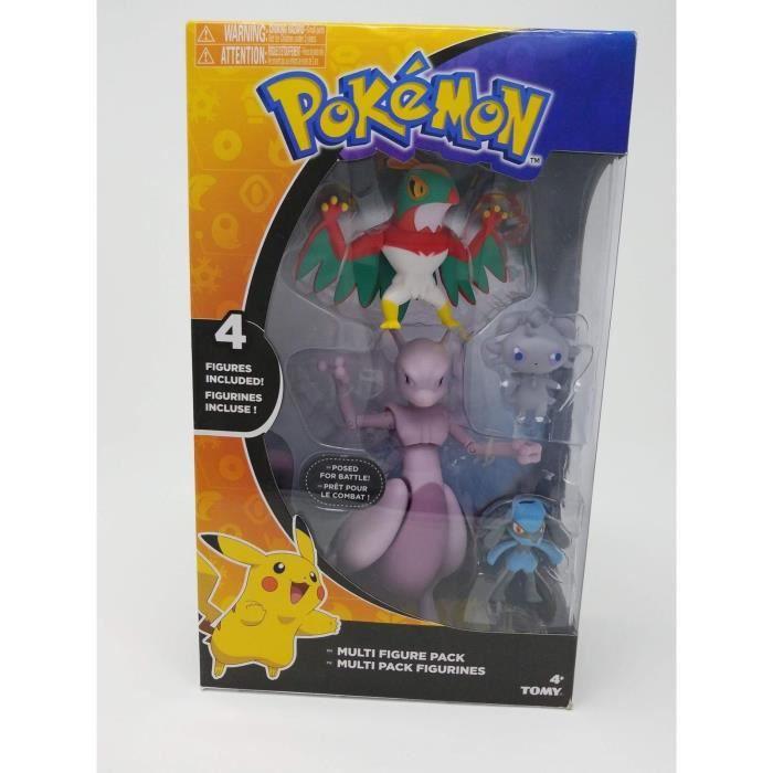 Pokemon TOMY 4 Figurines Pack Mewtwo Riolu Hawlucha Espurr
