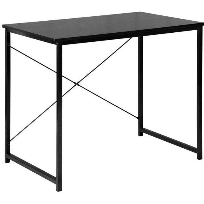 WOLTU Bureau d'ordinateur, Table de bureau en bois et acier, Table de travail, 80x60x70 cm, Noir