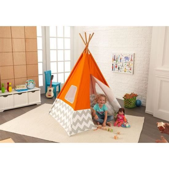 tente tipi d 39 indien pour chambre d 39 enfant orange achat. Black Bedroom Furniture Sets. Home Design Ideas