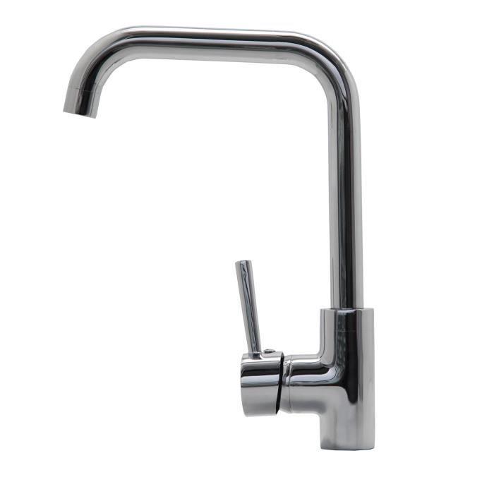 levier unique corps carr/é en laiton chrom/é robinets monobloc style cascade Robinet m/élangeur d/'/évier de cuisine bec pivotant