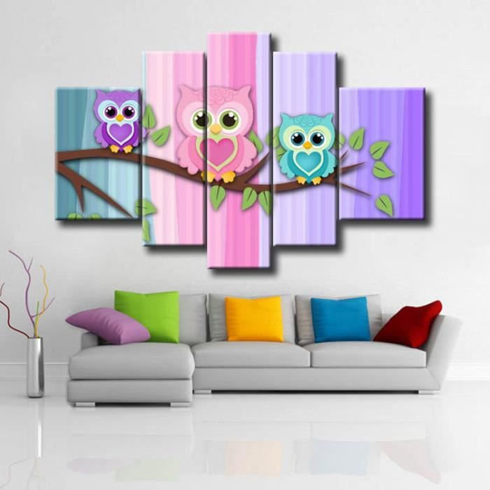 toile peinture jolie oiseau petite hibou photo mur toile d 39 art animal image pour enfants. Black Bedroom Furniture Sets. Home Design Ideas