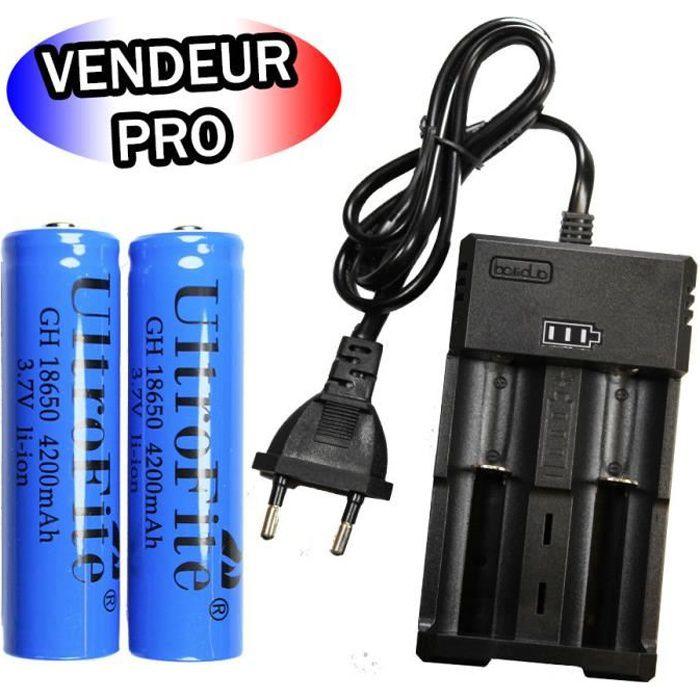 CREE DEL 2000 Lm Zoom Chargeur 2 x 18650 batterie 4200 mAh étanche