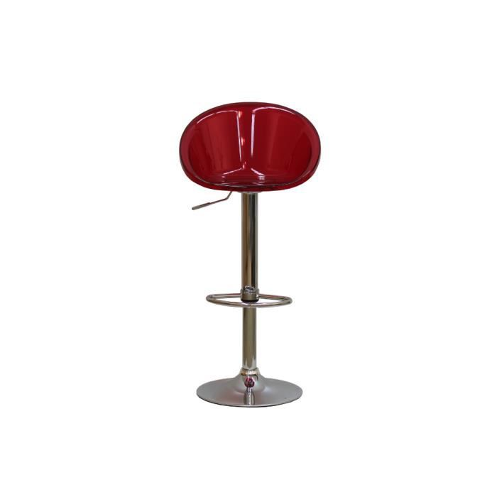 tabouret de bar moderne fielding transparent rouge achat vente chaise polycarbonate cdiscount. Black Bedroom Furniture Sets. Home Design Ideas