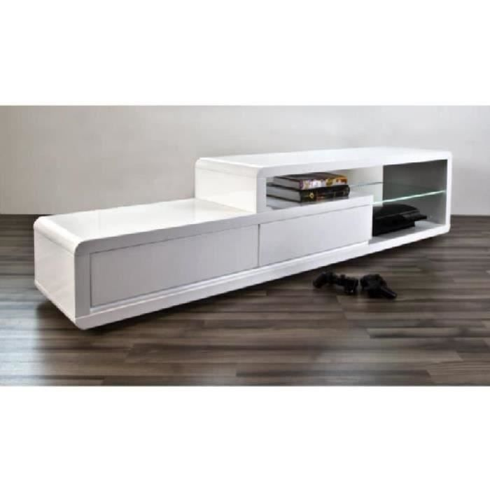 meuble tv meuble de salon nels blanc laqu led achat vente meuble tv meuble tv meuble de. Black Bedroom Furniture Sets. Home Design Ideas