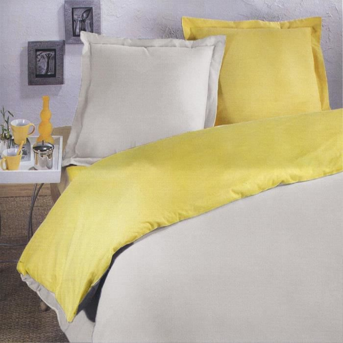 parure housse de couette flanelle 220x240 beige jaune. Black Bedroom Furniture Sets. Home Design Ideas