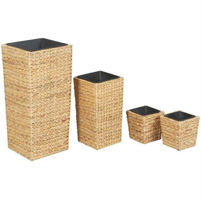 cache pot en jacinthe et zinc s rie de 4 jva116s achat. Black Bedroom Furniture Sets. Home Design Ideas