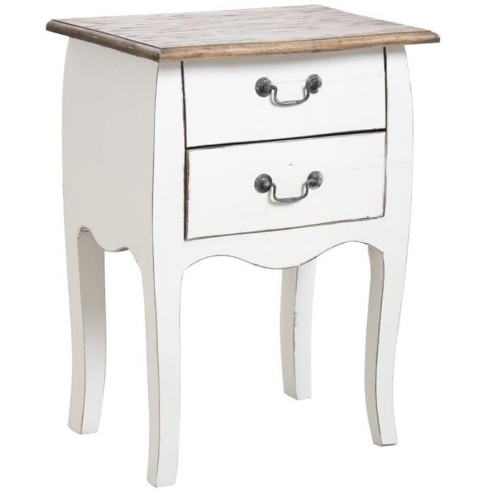 table de nuit en bois blanc antique achat vente chevet table de nuit en bois blanc cdiscount. Black Bedroom Furniture Sets. Home Design Ideas